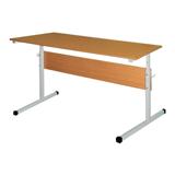 Стол-парта 2-местная, регулируемая, 1200×500×520-640 мм, рост 2-4, серый каркас, ЛДСП бук