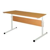 Стол парта 2-местная, регулируемая, 1200×500×640-760 мм, рост 4-6, серый каркас, ЛДСП бук
