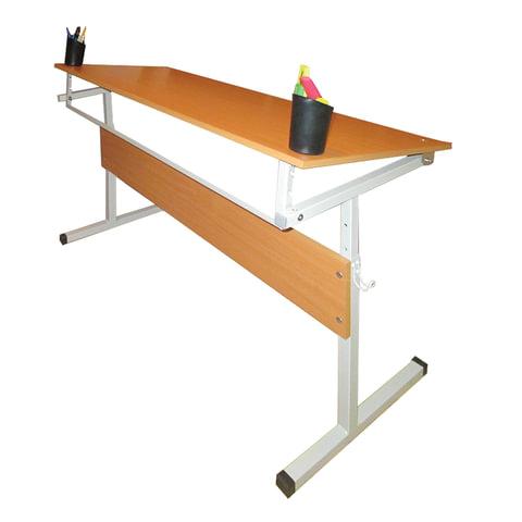 Стол-парта 2-местная, регулируемый угол, 1200×500×520-640 мм, рост 2-4, серый каркас, ЛДСП, бук