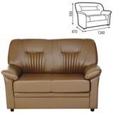 Диван двухместный «Гарда», 930×1260×870 мм, c подлокотниками, экокожа, коричневый