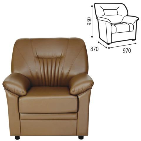 Кресло «Гарда», 930×970×870 мм, c подлокотниками, экокожа, коричневое