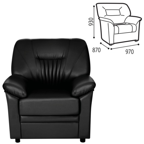 Кресло «Гарда», 930×970×870 мм, c подлокотниками, экокожа, черное