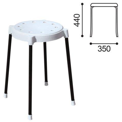 Табурет SHT-S36, черный каркас, сиденье пластиковое серое