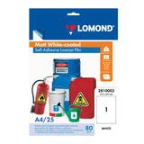 Пленка LOMOND для черно-белых и цветных лазерных принтеров, самоклеящаяся, белая, 100 мкм, А4, 25 шт.