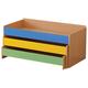 Кровать детская трехъярусная, 1480×652×720 мм, ЛДСП, бук бавария/<wbr/>цветная, настил фанера