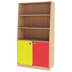Шкаф для игрушек детский, 800×400×1500 мм, ЛДСП, бук бавария/<wbr/>цветной фасад
