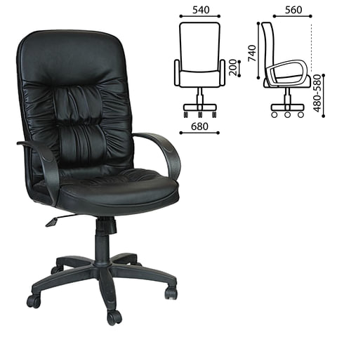 """Кресло офисное """"Лидер"""", СН 416, кожзам, черное"""