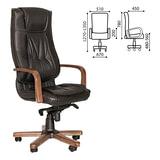 Кресло офисное «Texas extra», кожа, дерево, черное