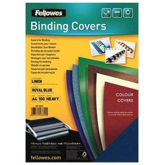 Обложки для переплета FELLOWES, комплект 100 шт., «Лен», A4, картон 250 г/<wbr/>м<sup>2</sup>, синие
