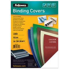 Обложки для переплета FELLOWES, комплект 100 шт., «Лен», A4, картон 250 г/<wbr/>м<sup>2</sup>, черные