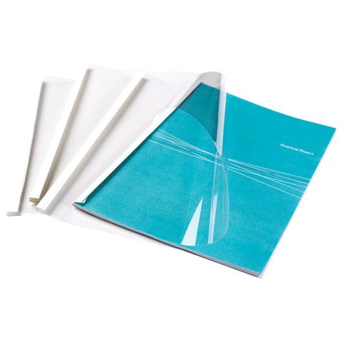 Обложки для термопереплета FELLOWES, комплект 100 шт., А4, 6 мм, 44-60 л., верх — прозрачный PVC, низ — картон