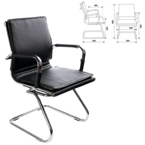 Кресло для приемных и переговорных CH-993-Low-V с низкой спинкой, экокожа, хром, черное