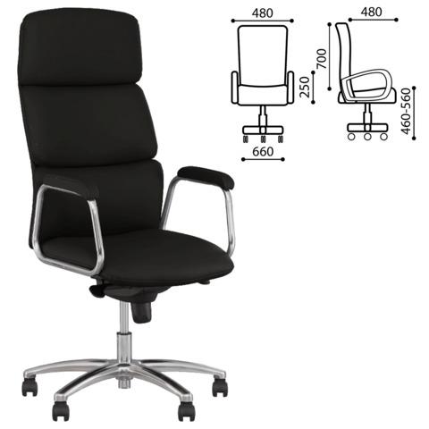 Кресло офисное «California steel chrome», экокожа, хром, черное