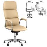 Кресло офисное «California steel chrome», экокожа, хром, бежевое