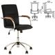 Кресло оператора «Samba GTP», деревянные накладки, хром, кожзам черный