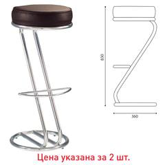Стулья барные «Zeta Hoker», комплект 2 шт., хромированный каркас, кожзам темно-коричневый