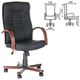 Кресло офисное «Атлант-экстра», кожа, дерево (махагон), черное