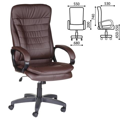 Кресло офисное «Силуэт», экокожа, коричневое