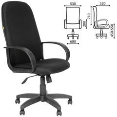Кресло офисное СН 279, высокая спинка, с подлокотниками, черное