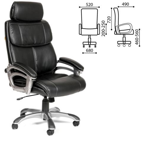 Кресло офисное СН 433, экокожа, черное