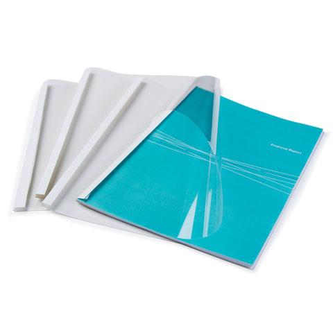 Обложки для термопереплета FELLOWES, комплект 100 шт., А4, 8 мм, 61-80 л., верх - прозрачный Pvc, низ - картон