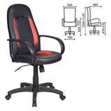Кресло офисное CH-826/<wbr/>B+R, кожзам, черное с красными вставками