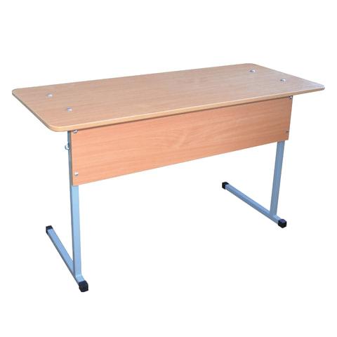 Стол-парта 2-местная нерегулируемая «Бюджет», 760×1200×500 мм, рост 6, серый каркас, ЛДСП бук