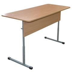 Стол-парта 2-местный регулируемый «Бюджет», 1200×500×520-640 мм, рост 2-4, серый каркас, ЛДСП бук