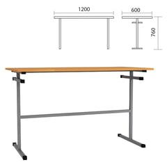 Стол для столовых 1200×600×760 мм, рост 6, серый каркас, ДСП/<wbr/>пластик, цвет бук