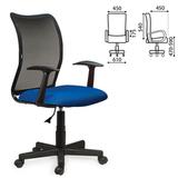 Кресло оператора BRABIX «Spring MG-307», с подлокотниками, комбинированное синее/<wbr/>черное, TW