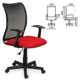 Кресло оператора BRABIX «Spring MG-307», с подлокотниками, комбинированное красное/<wbr/>черное, TW