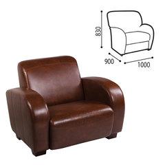 Кресло мягкое «С-400 М» 1000×900×830 мм, c подлокотниками, экокожа, коричневое