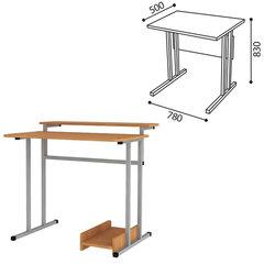 Стол-парта 1-местный для информатики, 780×500×830 мм, рост 6, серый каркас, ЛДСП бук