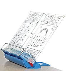 Подставка для книг ДЭМИ «Трафарет», пластиковая, синяя
