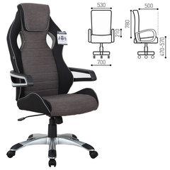 Кресло компьютерное BRABIX «Techno GM-002», ткань, черное/<wbr/>серое, вставки белые