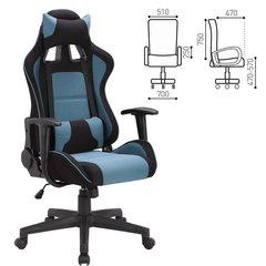 Кресло компьютерное BRABIX «GT Racer GM-100», две подушки, ткань, черное/<wbr/>голубое