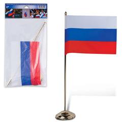 Флаг РФ, 12×18 см, подставка с флагштоком 30 см, под золото, пластик, упаковка с европодвесом