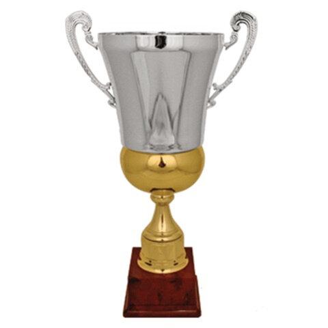 Кубок металлический «Зосим» (640×385×385 мм), основание красный пластик, «серебро»