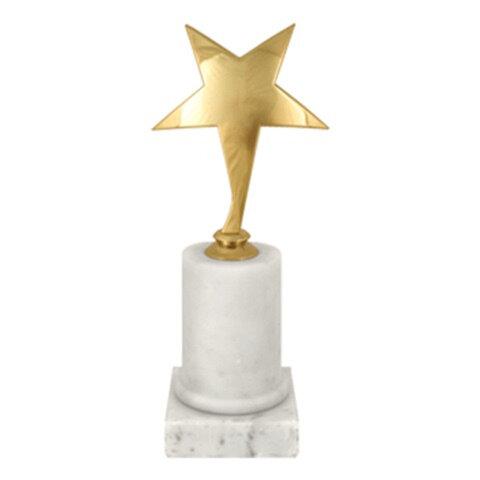 Приз «Звезда» металлический (180×80×80 мм), основание мрамор, «золото»