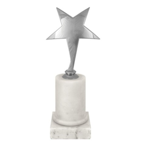 Приз «Звезда» металлический (170×80×80 мм), основание мрамор, «серебро»