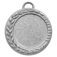Медаль металлическая под вкладыш D=25 мм, цвет серебро, D=35 мм, без ленты