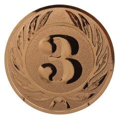 Вкладыш-эмблема для медалей, кубков, призов, «Третье место», металлический, D=50 мм, цвет бронзовый