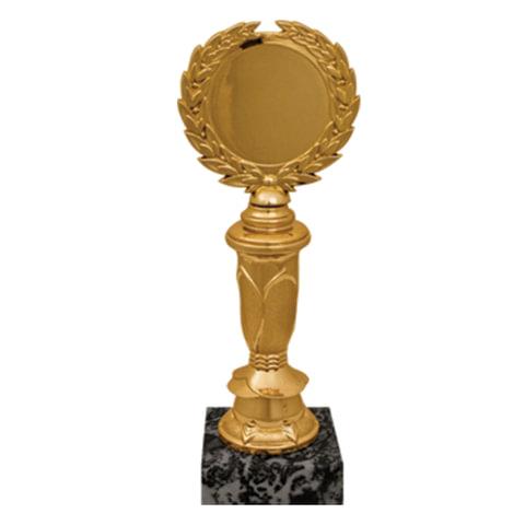 Приз «Венец» пластиковый (80×60×220 мм), основание мрамор черный, «золото», вкладыш D-50 мм, без вкладыша