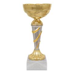 Кубок металлический «Мол» (80×80×180 мм), основание мрамор, «золото», стем «серебро»