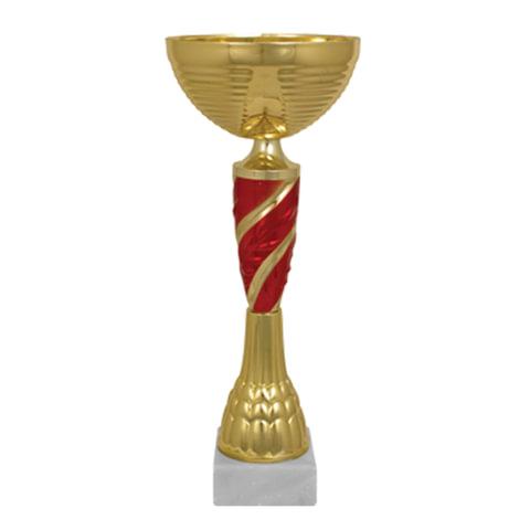 """Кубок металлический """"Янита"""" (100х100х300 мм), основание мрамор, """"золото"""", стем красный"""