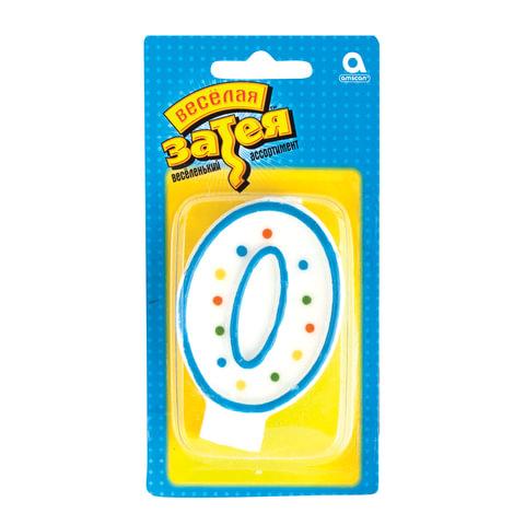 """Праздничная свеча цифра """"0"""" высотой 7,6 см"""