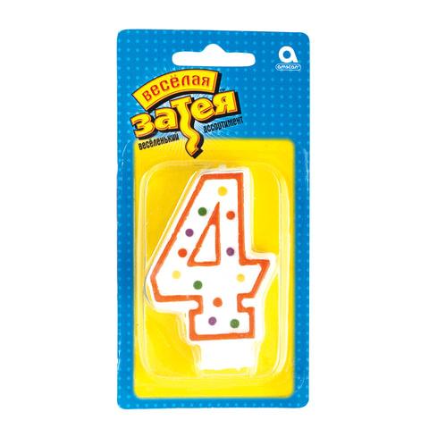 Праздничная свеча цифра «4» высотой 7,6 см
