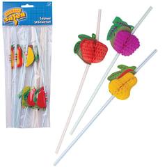 Праздничные трубочки для коктейля «Фрукты», комплект 12 шт., разноцветные, в упаковке с европодвесом