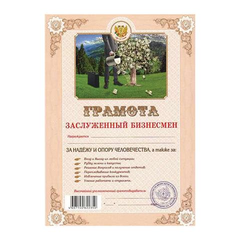Грамота Шуточная «Заслуженный бизнесмен», А4, мелованный картон