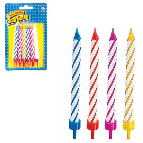 Праздничные свечи для торта, комплект 12 шт., с подставкой, 8,5 см, в блистере